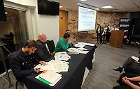 Pictured: The panel address Llangatwck Community School presentation Wednesday 25 November 2015<br />