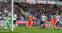 Bolton Wanderers' Pawel Olkowski (not shown) scores his side's first goal <br /> <br /> Photographer Andrew Kearns/CameraSport<br /> <br /> The EFL Sky Bet Championship - Bolton Wanderers v Millwall - Saturday 9th March 2019 - University of Bolton Stadium - Bolton <br /> <br /> World Copyright © 2019 CameraSport. All rights reserved. 43 Linden Ave. Countesthorpe. Leicester. England. LE8 5PG - Tel: +44 (0) 116 277 4147 - admin@camerasport.com - www.camerasport.com