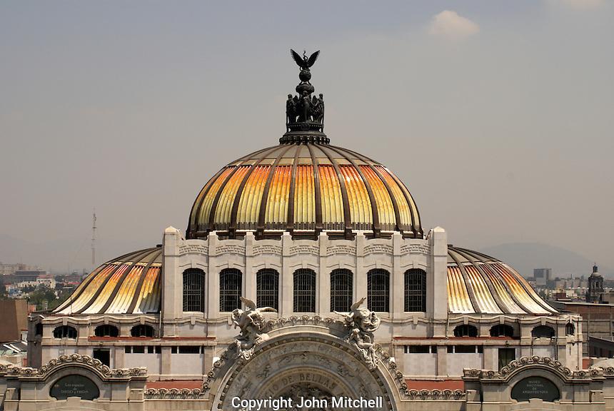 Dome of the Palacio de Bellas Artes or Fine Arts Palace in Mexico City.