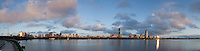 skyline from Cambridge with clouds, Boston, MA Charles River (5 parts, add canvas, Photomerge - not as sharp)