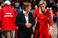 Stanford, CA - Saturday December 16, 2015: Coaches Tara VanDerveer and Kate Paye after the Stanford vs Tennessee basketball game Wednesday night at Maples.<br /> <br /> The Cardinal defeated the Volunteers 69-55.<br /> .