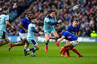 8th March 2020; Murrayfield Stadium, Edinburgh, Scotland; International Six Nations Rugby, Scotland versus France; Sam Johnson of Scotland passes the ball high along his line