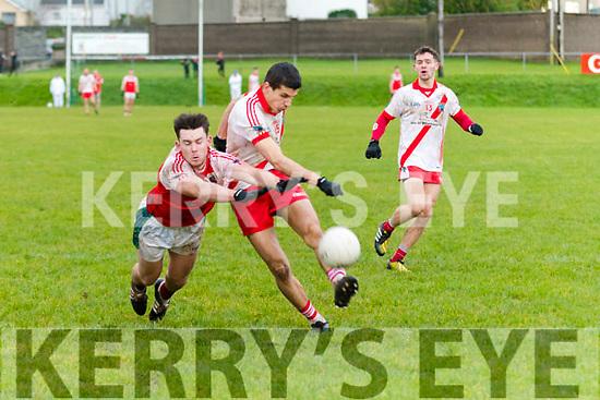 An Ghaeltacht Sean M. Ó Conchúir and Daingean Uí Chúis Padraig Ó Conchúir in an action during the West Kerry Championship Final at Pairc an Aghasaigh, Dingle, on Sunday afternoon.