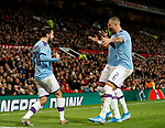 Bernardo Silva of Manchester City (L) celebrates scoring their first goal with Kyle Walker of Manchester City during the Carabao Cup match at Old Trafford, Manchester. Picture date: 7th January 2020. Picture credit should read: Darren Staples/Sportimage
