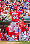 21 June 2015: Washington Nationals outfielder Bryce Harper returns to the dugout after hitting a two-run homer to open the scoring in the first inning against the Pittsburgh Pirates at Nationals Park in Washington, DC. The Nationals defeated the Pirates 9-2 to sweep their 3-game weekend series, and improve their record to 37-33. Mandatory Credit: Ed Wolfstein Photo *** RAW (NEF) Image File Available ***