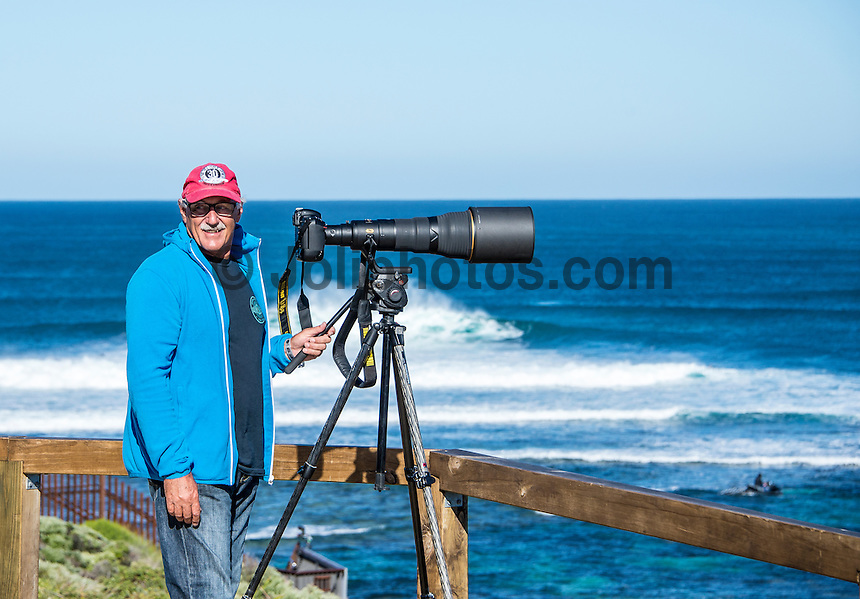 Margaret River, Western Australia (Wednesday, April 15, 2015) Photographer Peter Joli Wilson (AUS) shooting with the Nikkor  800mm. Photo by Mrs Joli. &ndash; The first day of the 2015 Drug Aware Margaret River Pro was called on today with surf in the solid 10'-12 plus surf at the main break at Margaret River and solid 6'-10' at the alternate spot of The Box. <br /> Round One heats 1 to 7 were held at The Box before the contest was put on hold for a short time and then shifted to the main Break.<br /> Photo: joliphotos.com