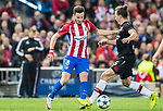 Saul Niguez Esclapez (l) of Atletico de Madrid competes for the ball with Julian Baumgartlinger of Bayer 04 Leverkusen during their 2016-17 UEFA Champions League Round of 16 second leg match between Atletico de Madrid and Bayer 04 Leverkusen at the Estadio Vicente Calderon on 15 March 2017 in Madrid, Spain. Photo by Diego Gonzalez Souto / Power Sport Images