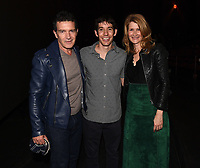 """Los Angeles - JANUARY 8: Antonio Banderas, Alex Honnold, and Laura Dern attend an IMAX screening of National Geographic's """"Free Solo"""" at the AMC Century City 15 on January 8, 2019 in Los Angeles, California. (Photo by Frank Micelotta/National Geographic/PictureGroup)"""