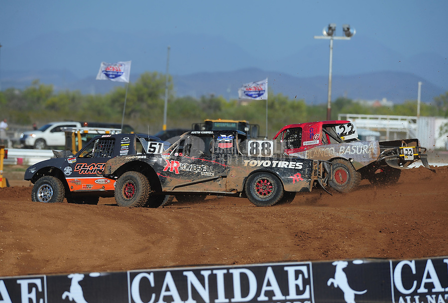 Apr 16, 2011; Surprise, AZ USA; LOORRS driver Ryan Beat (51) leads Austin Kimbrell (88) and Pete Sohren (22) during round 3 at Speedworld Off Road Park. Mandatory Credit: Mark J. Rebilas-.