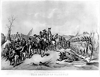 Surrender of the Hessian Troops to General Washington, after The Battle of Trenton. December 1776.  Copy of lithograph, 1850. (George Washington Bicentennial Commission)<br />