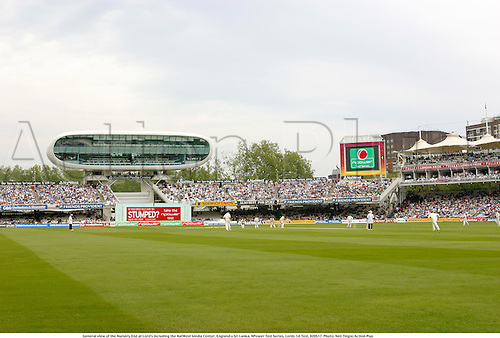 General view of the Nursery End at Lord's including the NatWest Media Center, England v Sri Lanka, NPower Test Series, Lords 1st Test, 020517. Photo: Neil Tingle/Action Plus..2002.cricket.international internationals.ground grounds.large screen.crowd crowds fan fans .venue venues