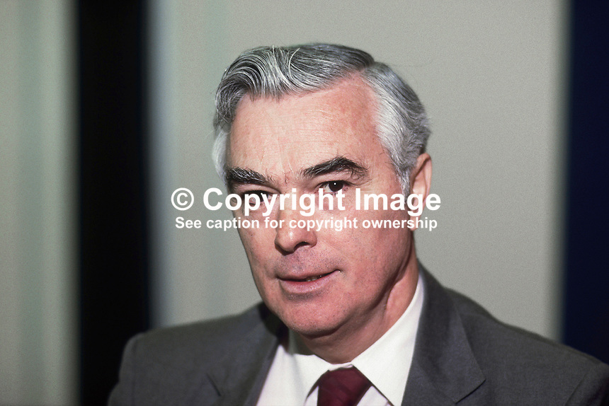 Rev Martin Smyth, Ulster Unionist, MP, South Belfast, Westminster Parliament. 19851103/MS.<br />