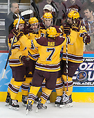 Michael Brodzinski (MN - 20), Sam Warning (MN - 11), Kyle Rau (MN - 7), Mike Reilly (MN - 5) and Hudson Fasching (MN - 24) celebrate Warning's goal. - The Union College Dutchmen defeated the University of Minnesota Golden Gophers 7-4 to win the 2014 NCAA D1 men's national championship on Saturday, April 12, 2014, at the Wells Fargo Center in Philadelphia, Pennsylvania.