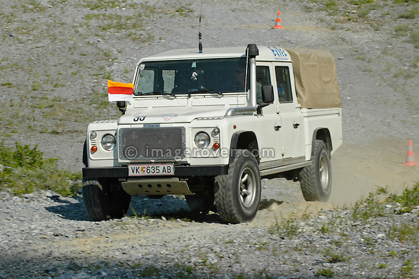 Austria, Boesenstein Offroad Classic, Hohentauern, Steiermark, 25-26.06.2005. Land Rover Defender 130 TD5 Crew Cab, white, Reg: VK635AB. --- No releases available. Automotive trademarks are the property of the trademark holder, authorization may be needed for some uses.