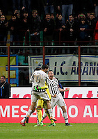 Calcio, Coppa Italia: semifinale di ritorno Inter vs Juventus. Milano, stadio San Siro, 2 marzo 2016. <br /> Juventus players celebrate after winning a penalty shootout at the end of the Italian Cup second leg semifinal football match between Inter and Juventus at Milan's San Siro stadium, 2 March 2016.<br /> UPDATE IMAGES PRESS/Isabella Bonotto
