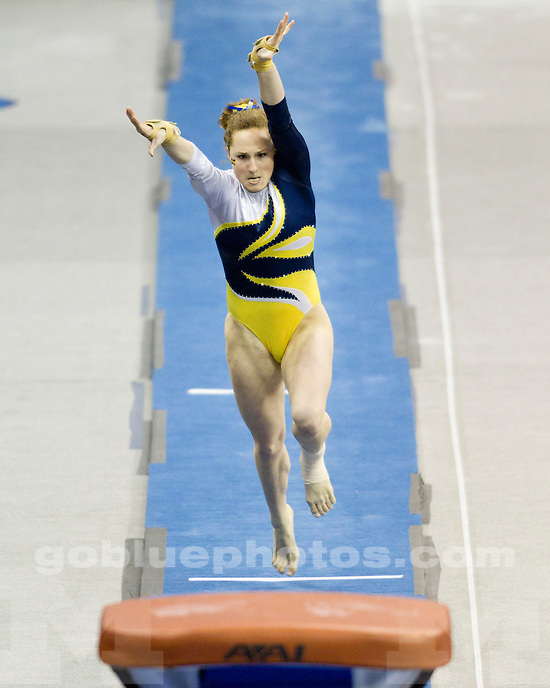 Michigan women's gymnastics competes in the NCAA Championship semi-final round at the Wolstein Center in Cleveland, Ohio on April 15, 2011.
