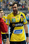 GER - Mannheim, Germany, September 23: Players of Rhein-Neckar Loewen celebrate after winning the DKB Handball Bundesliga match between Rhein-Neckar Loewen (yellow) and TVB 1898 Stuttgart (white) on September 23, 2015 at SAP Arena in Mannheim, Germany. Final score 31-20 (19-8) .  Darko Stanic #12 of Rhein-Neckar Loewen, Gedeon Guardiola Villaplana #30 of Rhein-Neckar Loewen<br /> <br /> Foto &copy; PIX-Sportfotos *** Foto ist honorarpflichtig! *** Auf Anfrage in hoeherer Qualitaet/Aufloesung. Belegexemplar erbeten. Veroeffentlichung ausschliesslich fuer journalistisch-publizistische Zwecke. For editorial use only.