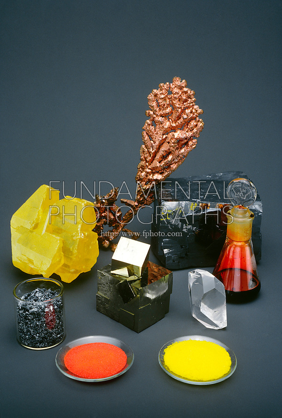 ELEMENTS - METALS AND NONMETALS<br /> Assortment of Elements<br /> Clockwise from left: Clockwise from left: sulfur, copper, lead sulfide, bromine, quartz, potassium chromate, mercuric oxide, iodine, and pyrite.
