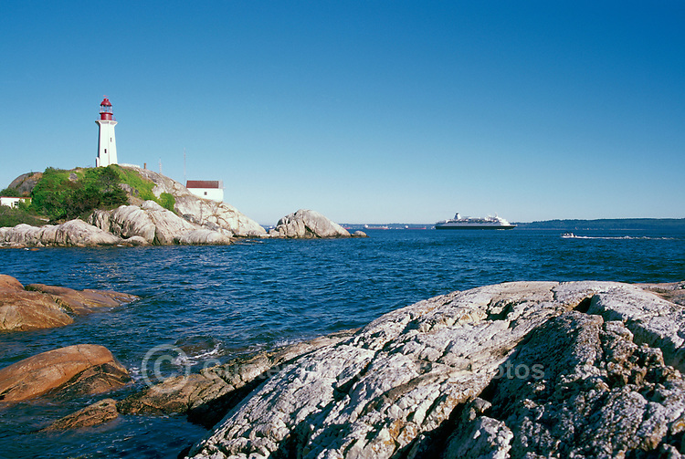 Point Atkinson Lighthouse (built 1912) in Lighthouse Park, West Vancouver, BC, British Columbia, Canada - overlooking English Bay and Howe Sound