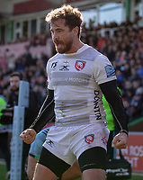 Gloucester's Danny Cipriani celebrates scoring his sides fourth try<br /> <br /> Photographer Bob Bradford/CameraSport<br /> <br /> Gallagher Premiership - Harlequins v Gloucester Rugby - Sunday 10th March 2019 - Twickenham Stoop - London<br /> <br /> World Copyright &copy; 2019 CameraSport. All rights reserved. 43 Linden Ave. Countesthorpe. Leicester. England. LE8 5PG - Tel: +44 (0) 116 277 4147 - admin@camerasport.com - www.camerasport.com