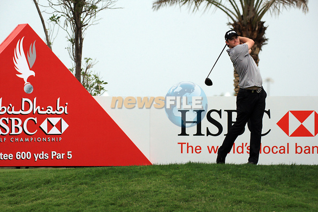 Gary Boyd teeing  off on the second on day one of the Abu Dhabi HSBC Golf Championship 2011, at the Abu Dhabi golf club 20/1/11..Picture Fran Caffrey/www.golffile.ie.
