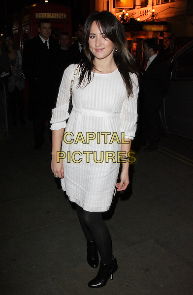 "KT TUNSTALL.""Not Another Burns Night"" Charity Dinner in aid of Clic Sargent Appeal held at the St Martins Lane Hotel, London, England, March 3rd 2008.full length white dress black tights shoes.CAP/ROS.?Steve Ross/Capital Pictures"