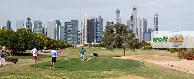 1st tee at The Address Montgomerie Golf Club, Dubai, United Arab Emirates.  27/01/2016. Picture: Golffile | David Lloyd<br /> <br /> All photos usage must carry mandatory copyright credit (&copy; Golffile | David Lloyd)