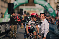 "Rui Costa (POR/UAE) catching up with former champion ""Purito"" Rodrigues at the race start in Bergamo<br /> <br /> 112th Il Lombardia 2018 (ITA)<br /> from Bergamo to Como: 241km"