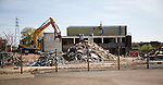 Deindustrialisation and demolition of old industrial buildings at Brantham, Suffolk, England