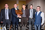 Some of the Cnuicín Seine Boat crew who accepted the Johnny O'Mahony Memorial Trophy for the over all pictured here l-r; Ciaran Smith, James Gleeson(Chairman South & Mid Kerry Rowing Clubs), Michael O'Driscoll(Cox), Alan & Brian Smith.