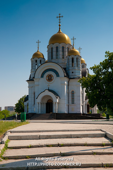 Steps to the church of St.George near the Volga river-side in Samara