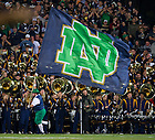 Sept. 14, 2013; The Leprechaun runs with the ND flag after an Irish score against Purdue.<br /> <br /> Photo by Matt Cashore
