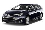 2015 Toyota Avensis Business Executive 5 Door Wagon Angular Front stock photos of front three quarter view