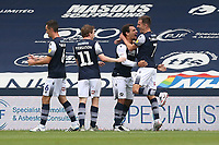 Mason Bennett of Millwall (2nd R) scores the first goal for his team and celebrates during Millwall vs Swansea City, Sky Bet EFL Championship Football at The Den on 30th June 2020