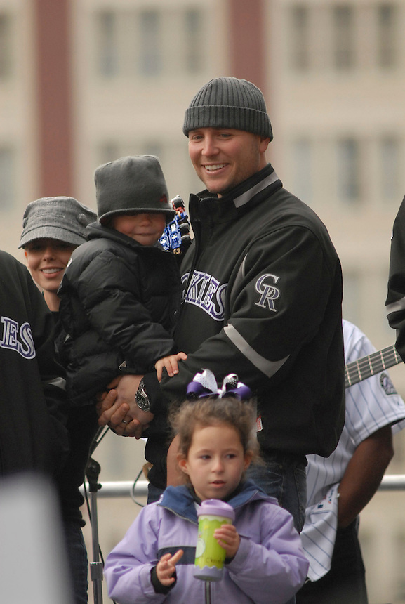 Matt Holliday holds his son Jackson (about 2 1/2) at an event held in downtown Denver to celebrate the Colorado Rockies 2007 season.