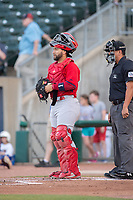 Springfield Cardinals catcher Jose Godoy (27) looks to the mound between batters on May 16, 2019, at Arvest Ballpark in Springdale, Arkansas. (Jason Ivester/Four Seam Images)