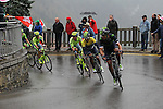 Race leader Yellow Jersey Nairo Quintana (COL) Movistar Team in action during Stage 4 of the 2016 Tour de Romandie, running 173.2km from Conthey to Villars, Switzerland. 30th April 2016.<br /> Picture: Heinz Zwicky | Newsfile<br /> <br /> <br /> All photos usage must carry mandatory copyright credit (© Newsfile | Heinz Zwicky)
