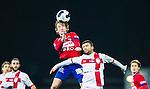 S&ouml;dert&auml;lje 2014-11-09 Fotboll Kval till Superettan Assyriska FF - &Ouml;rgryte IS :  <br /> &Ouml;rgrytes Jakob Lindstr&ouml;m i nickduell med Assyriskas Hezha Agai <br /> (Foto: Kenta J&ouml;nsson) Nyckelord:  S&ouml;dert&auml;lje Fotbollsarena Kval Superettan Assyriska AFF &Ouml;rgryte &Ouml;IS depp besviken besvikelse sorg ledsen deppig nedst&auml;md uppgiven sad disappointment disappointed dejected