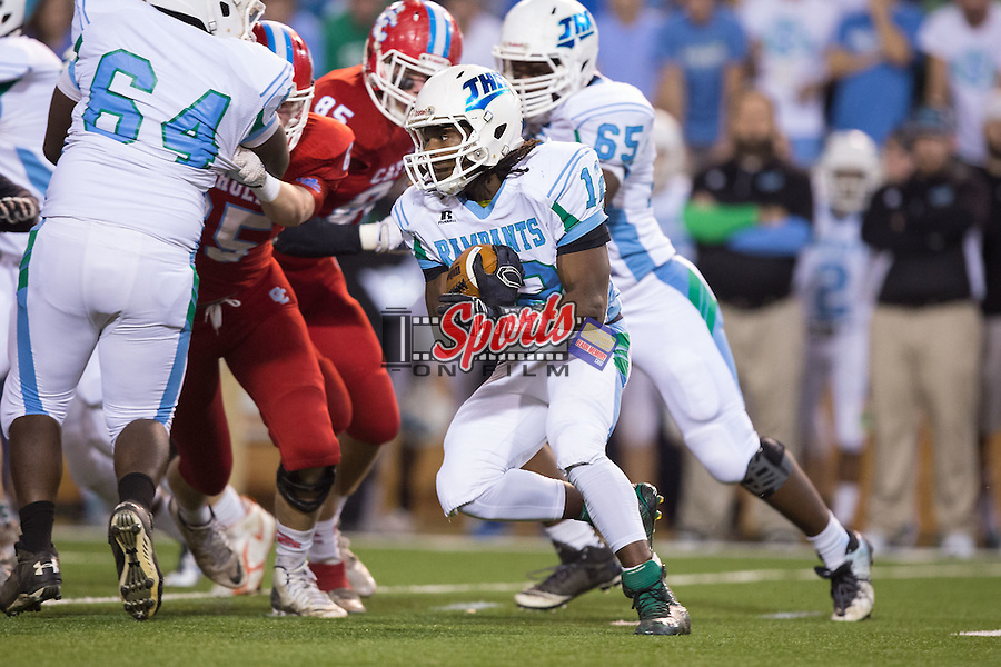 Dontavies Harris (12) of the J.H. Rose Rampants looks for running room during first half action against the Charlotte Catholic Cougars in the NCHSAA 4A State Championship at BB&T Field on December 12, 2015 in Winston-Salem, North Carolina.  The Cougars defeated the Rampants 27-20.  (Brian Westerholt/Sports On Film)