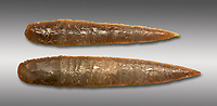 Brown obsidian dagger blades. Catalhoyuk Collections. Museum of Anatolian Civilisations, Ankara. Against a grey background