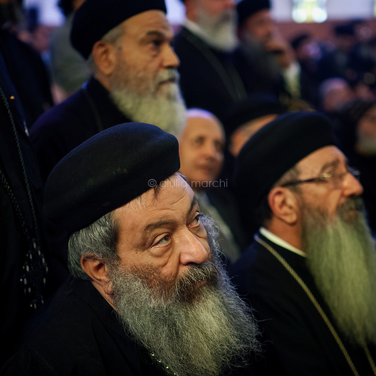 Egypt / Cairo / 4.11.2012 / Coptic priests during the Papal election ceremony in St Mark Cathedral in Abbasseya. Pope Theodoros II or Tawadros II was selected as the 118th pope. © Giulia Marchi