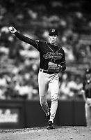 Orel Hershiser of the Cleveland Indians at Anaheim Stadium in Anaheim,California during the 1996 season. (Larry Goren/Four Seam Images)