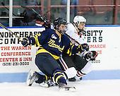 Brandon Brodhag (Merrimack - 12), Luke Eibler (Northeastern - 20) - The visiting Merrimack College Warriors defeated the Northeastern University Huskies 4-3 (OT) on Friday, February 4, 2011, at Matthews Arena in Boston, Massachusetts.