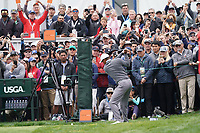Tiger Woods (USA) on the 9th during the 3rd round of the US Open Championship, Pebel Beach Golf Links, Monterrey, Calafornia, USA. 15/06/2019.<br /> Picture Fran Caffrey / Golffile.ie<br /> <br /> All photo usage must carry mandatory copyright credit (© Golffile | Fran Caffrey)