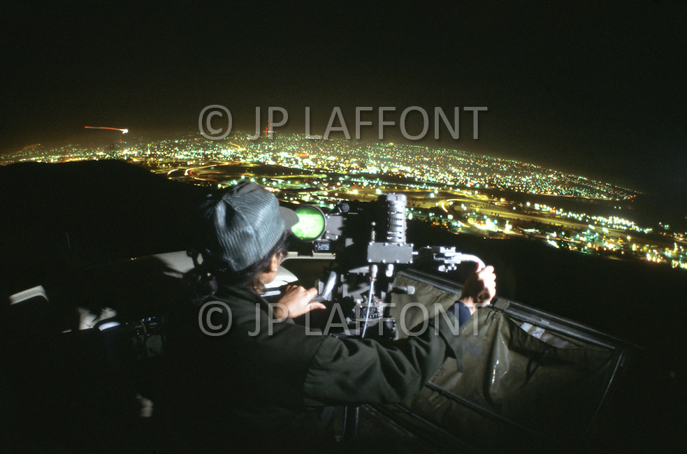 January, 1983. San Diego, California. South of San Diego, the border patrol have sophisticated equipment to spot illegal immigrants, including night vision scopes, helicopters and horse for fast action in difficult terrain.