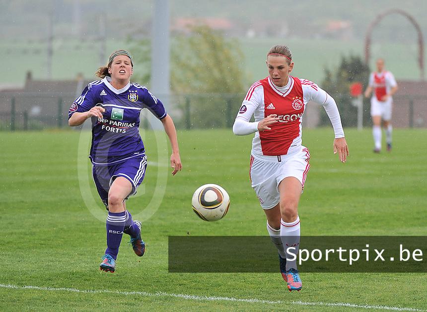 RSC Anderlecht Dames - Ajax Amsterdam : duel tussen Laura Deloose (links) en Chantal De Ridder.foto DAVID CATRY / Nikonpro.be