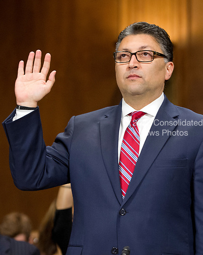 Makan Delrahim is sworn-in to testify before the United States Senate Committee on the Judiciary on his nomination to be an Assistant Attorney General, Antitrust Division of the Department of Justice, on Capitol Hill in Washington, DC on Wednesday, May 10, 2017.<br /> Credit: Ron Sachs / CNP