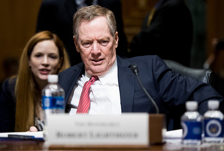 UNITED STATES - MARCH 14: Robert Lighthizer, nominee to be U.S. trade representative, prepares to testify during his confirmation hearing in the Senate Finance Committee on Tuesday, March 14, 2017. (Photo By Bill Clark/CQ Roll Call)