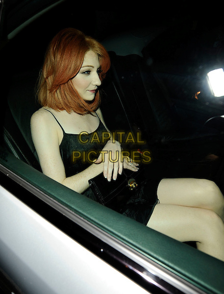 NICOLA ROBERTS .At Sally Walsh's 30th Birthday Party, Burlington Club, London, England, 2nd August 2008..Girls Aloud half length black dress sitting in car .CAP/CAN.©Can Nguyen/Capital Pictures