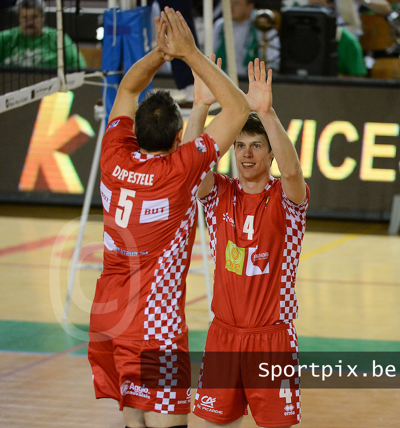Beauvais Oise Universite Club Volley : Gert Van Walle (4) en Frank Depestele (5) <br /> foto VDB / BART VANDENBROUCKE